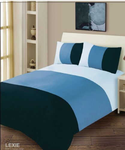 NAVY SKY BLUE COLOUR DUVET COVER MICROFIBER BEDDING SET